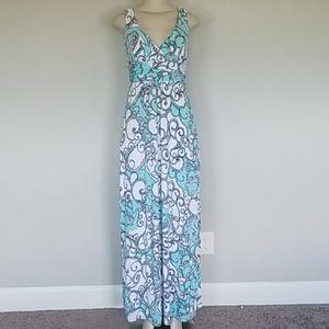 Lilly Pulitzer white/aqua swirly print maxi dress